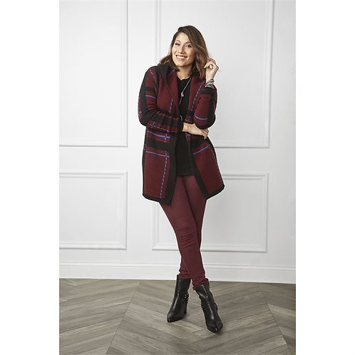 Maroon Plaid Cardigan