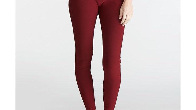 Jasmine Burgandy Zip Pocket Leggings