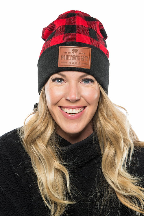 Midwest Leather Patch Red Buffalo Beanie