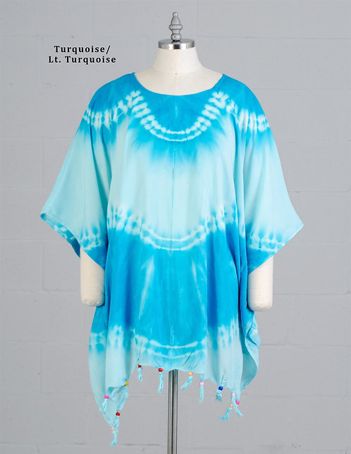 Turquoise Tie Dye Beach Cover Up