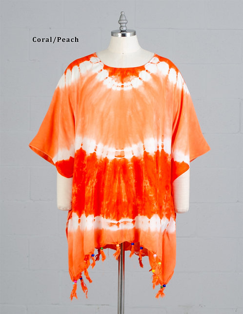 Tie Dye Coral Beach Cover Up