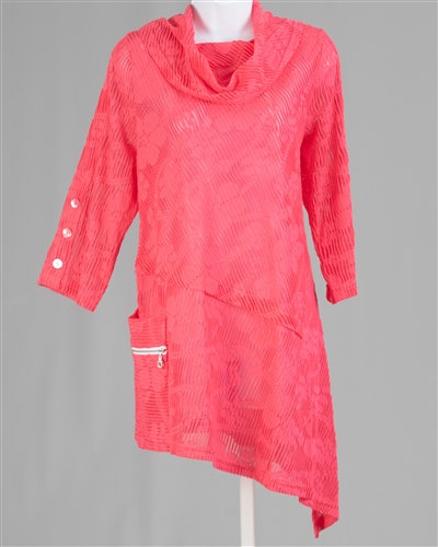 Coral Sheer Tunic Top