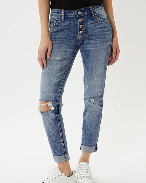 Mid Rise Button Fly Mom Jeans