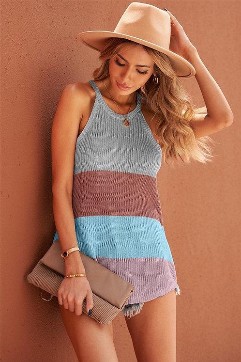 Colorblock Striped Knit Tank