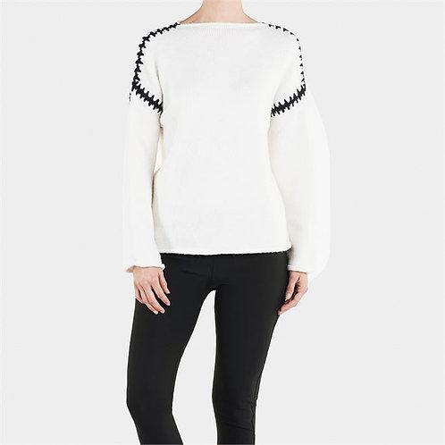 Whipstitch White Sweater