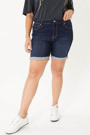 Plus Mid Rise Fold Hem Shorts