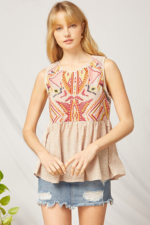 Embroidery Babydoll Tank