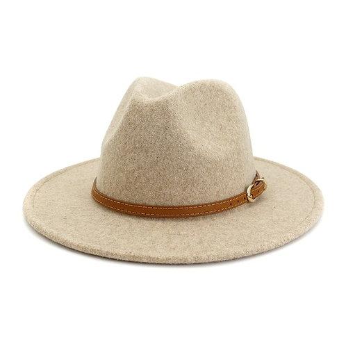 Beige Buckle Hat