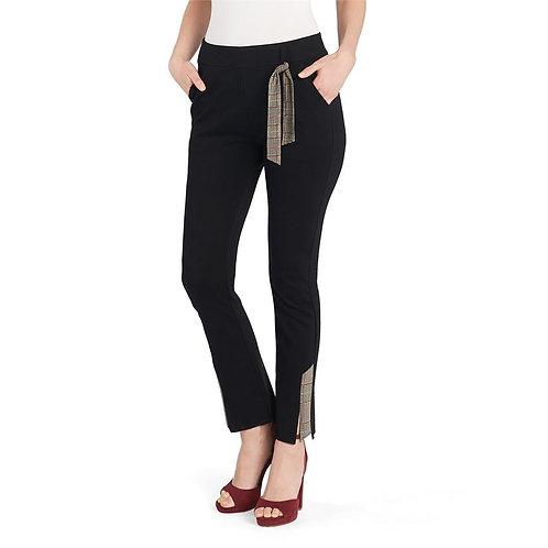 Black Plaid Detail Dress Pants