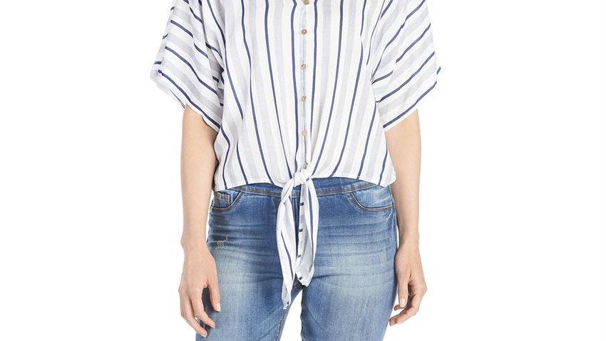 Tie Front Stripe Blouse