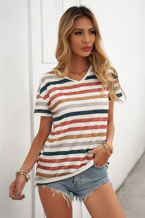 Multicolor Stripes V Neck T Shirt