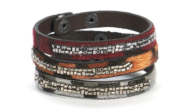 Faux Haircalf Bling Bracelet Set