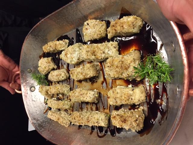 Filé de peixe com crosta de castanhas
