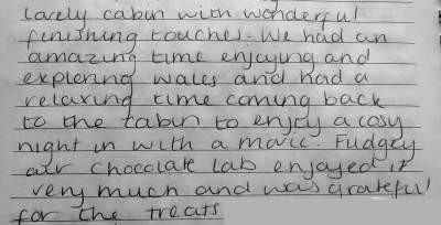 Review from guests at Caban Eryri