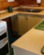 Ty Coed galley style kitchen. Fully euippd self catering kitchen.