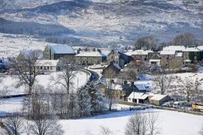 Snowy photograph of Trawsfynydd Village