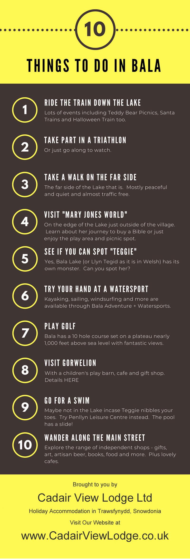Infographic 10 Things To Do In Bala