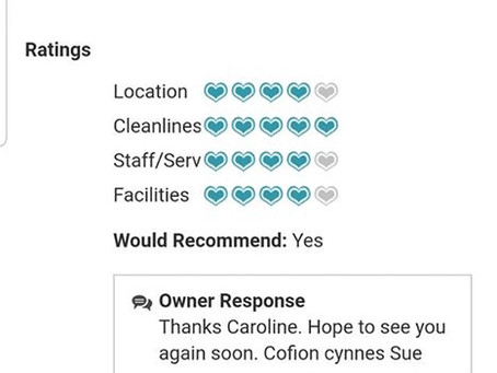 Lovely Review From Cadair View Lodge Guests