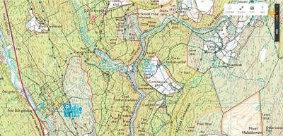 OS Map showing Coed y Brenin Waterfalls & Goldmines Walk