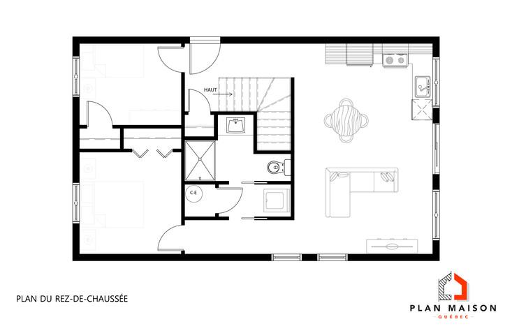 plan maison rectangle