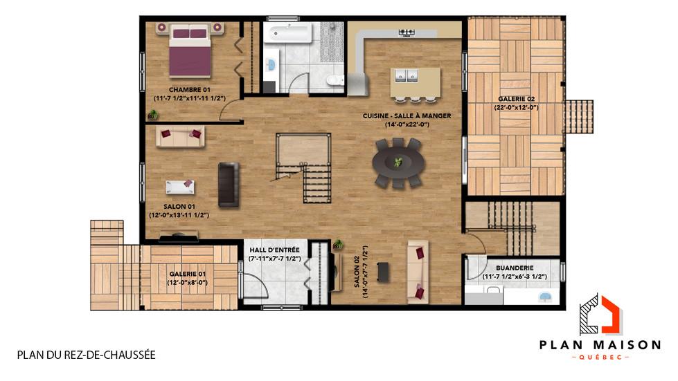 plan de maison 4 chambre
