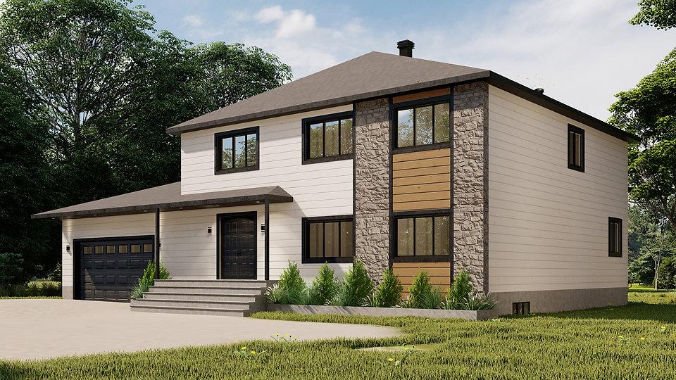 plan de maison contemporaine avec garage