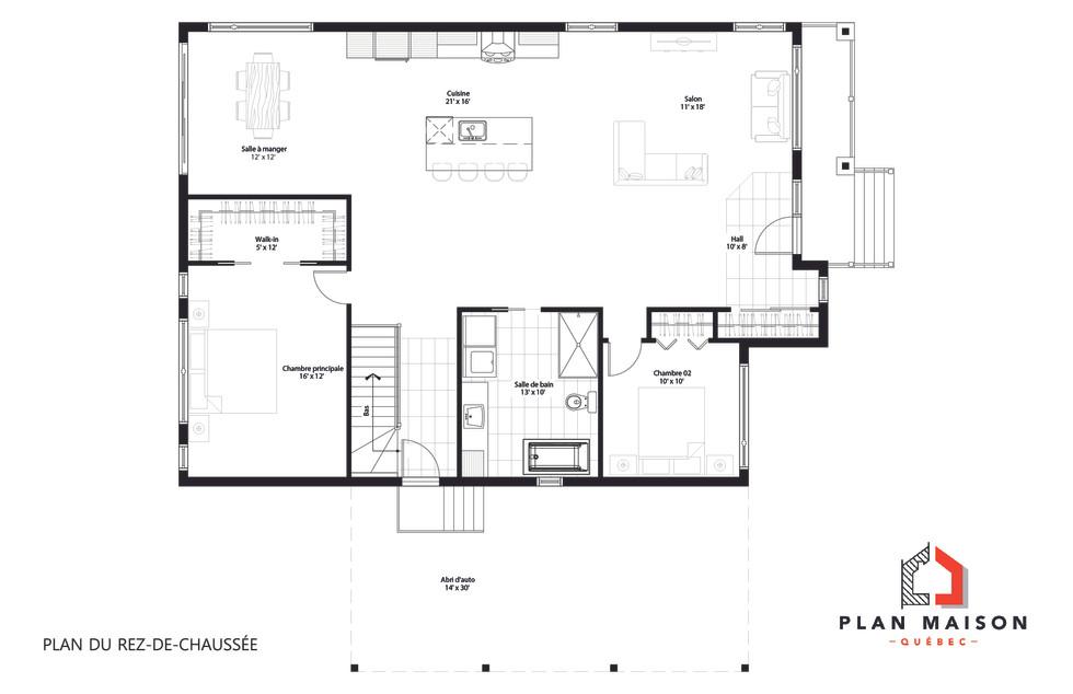 plan de maison 2 chambres