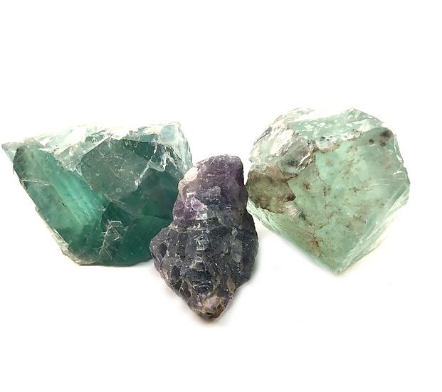 Rough Raw Rainbow Green Fluorite Crystal Stone