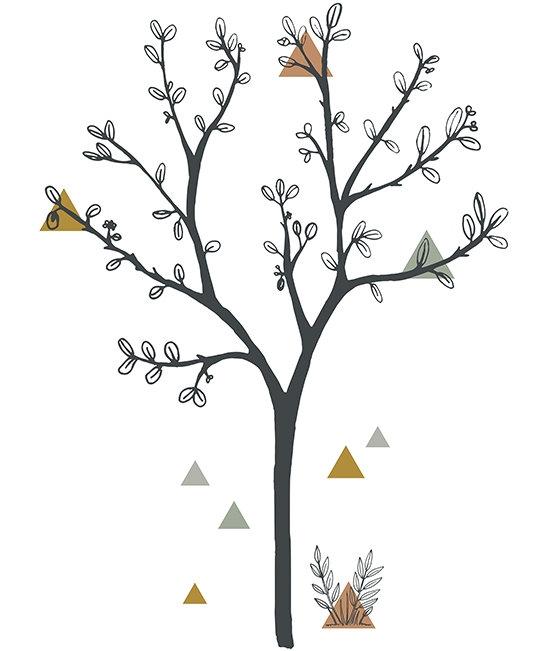 Wall Stickers Big Tree + Triangles