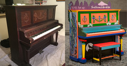 Portland Museum of Art Paint-Push-Play art installation. Before after piano painting