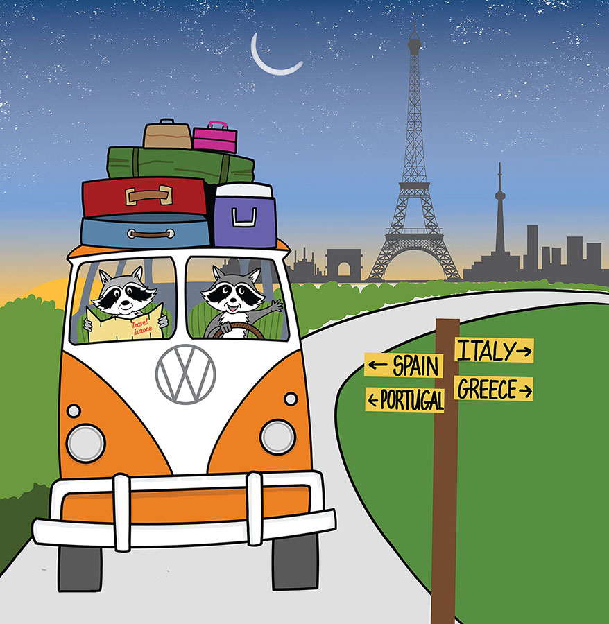 Raccoons on a Road Trip - traveling at night, of course.