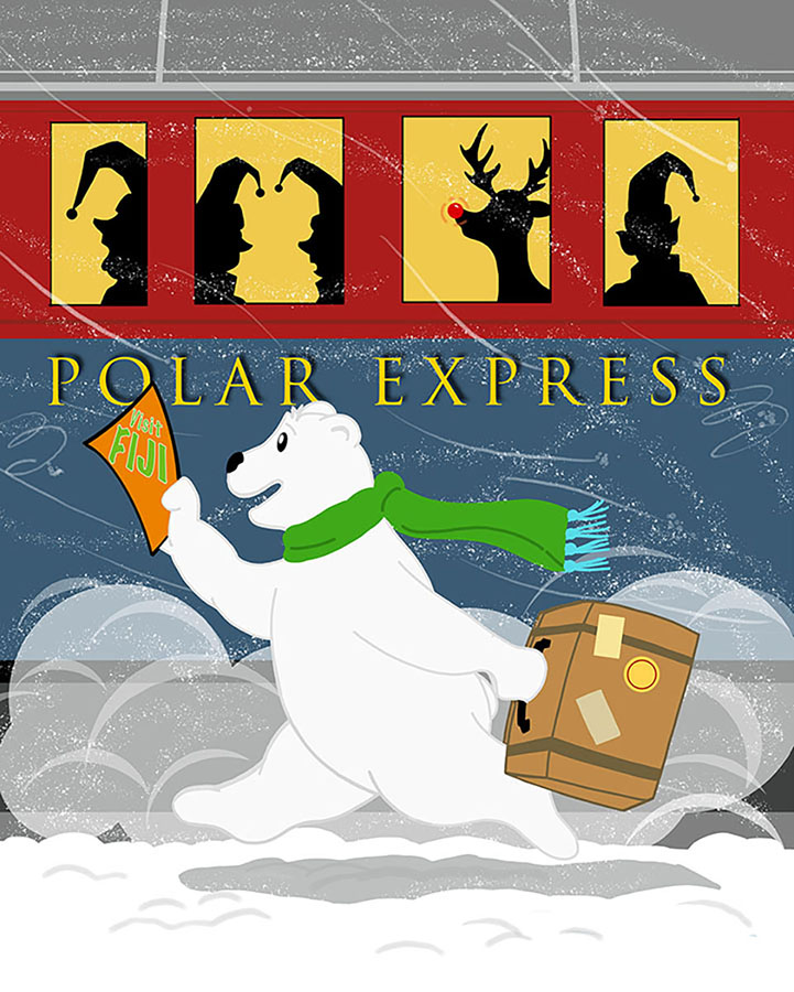 Polar Express: Time for a vacation for this bear and the elves.