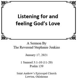 January 17, 2021 1 Samuel 3:1-10 (11-20); Psalm 139