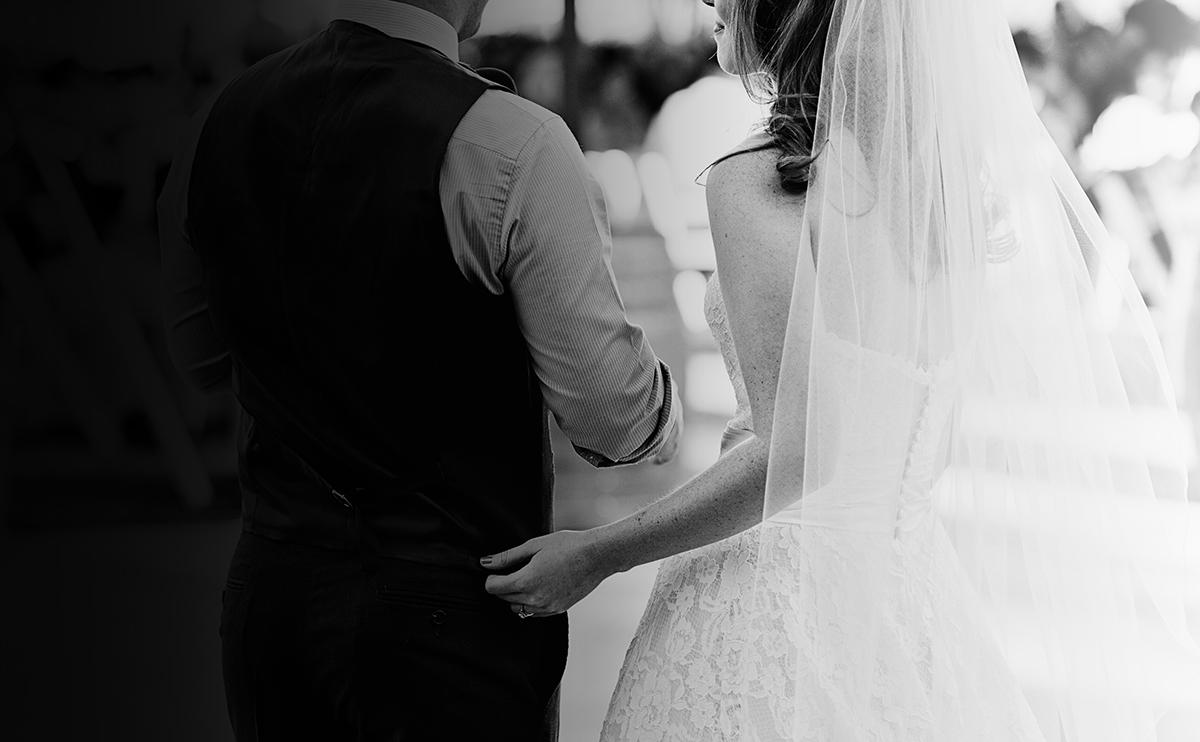 Bride Groom Black White