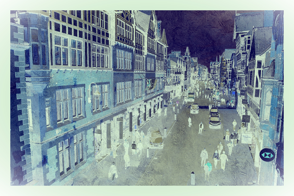 Blue Negative Townscape