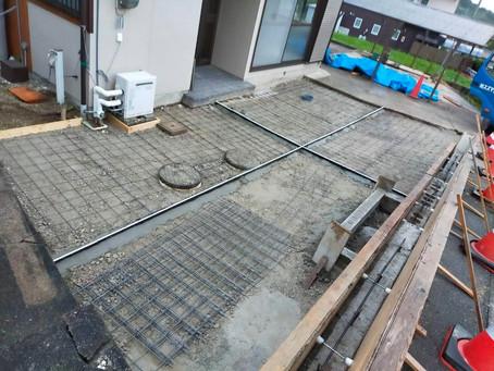 駐車場増設のための土間コンクリート打設