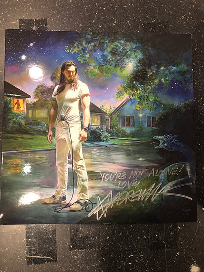"AUTOGRAPHED Andrew W.K. ""You're Not Alone"" Blue/Green Vinyl LP"