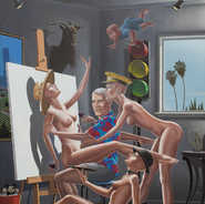 Portait of the Artist with his Muses Oil on Canvas