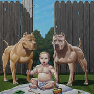 Who Let the Dogs Out Oil on Canvas