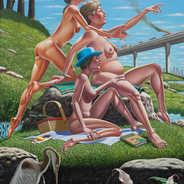 The Bird Watchers Oil on Canvas