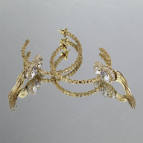 Brincos Grace Frange-Ouro-Cristal