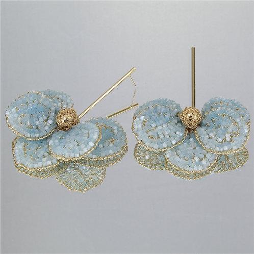 Brincos Orquídea-Ouro-Azul