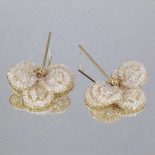 Brincos Orquídea M-Ouro-Cristal