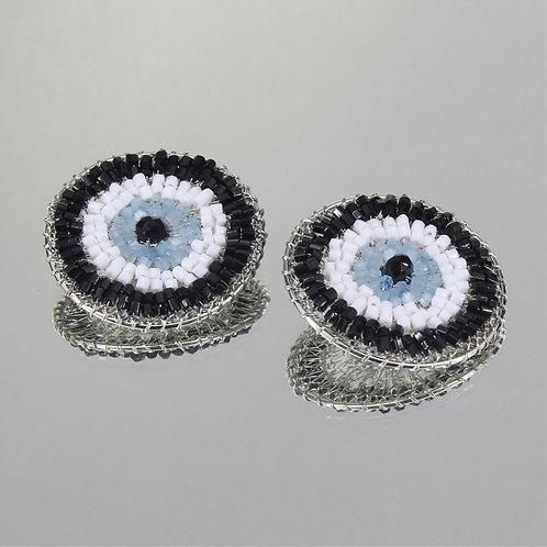 Brincos Eye Maxi-Ródio-Azul