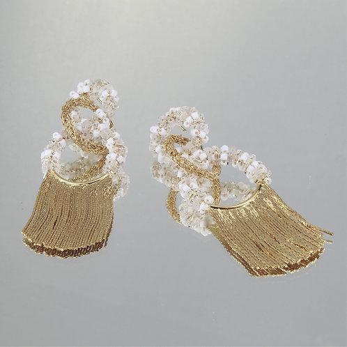 Brincos Chanel Frange-Ouro-Washed