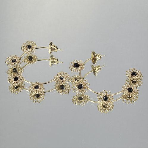 Brincos Match Flower-Ouro-Preto