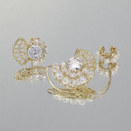 Brincos Mon Petit Ear Cuf-Ouro-Cristal