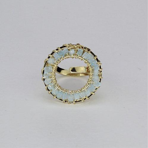Anel Pitta Uni-Ouro-Azul