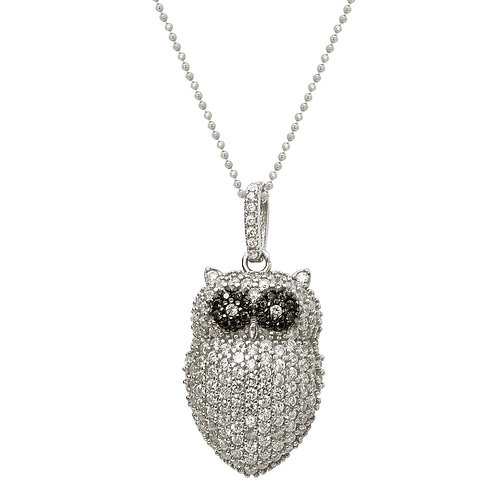 Sparkling Cz Owl Necklace
