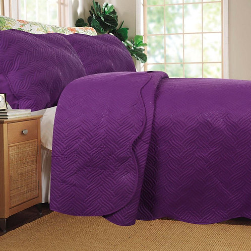 Midnight Vineyard Solid Purple Thin & Lightweight Quilted Coverlet Bedspread Set